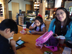 A break at Starbucks in Monterey